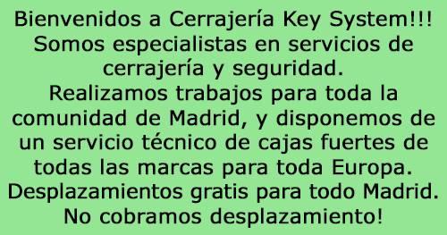Especialistas en servicios decerrajería y seguridad.Realizamos trabajos para toda lacomunidad de Madrid, y disponemos de un servicio técnico de cajas fuertes de todas las marcas para toda Europa